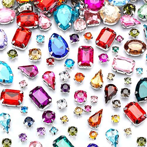 260 Piezas de Gemas de Costura Diamantes de Imitación de Acrílico Cristales con Diente Plateado Agujero Agarre Plano Colores Formas y Tamaños Mezclados para Manualidades Ropa Zapatos Bolsa