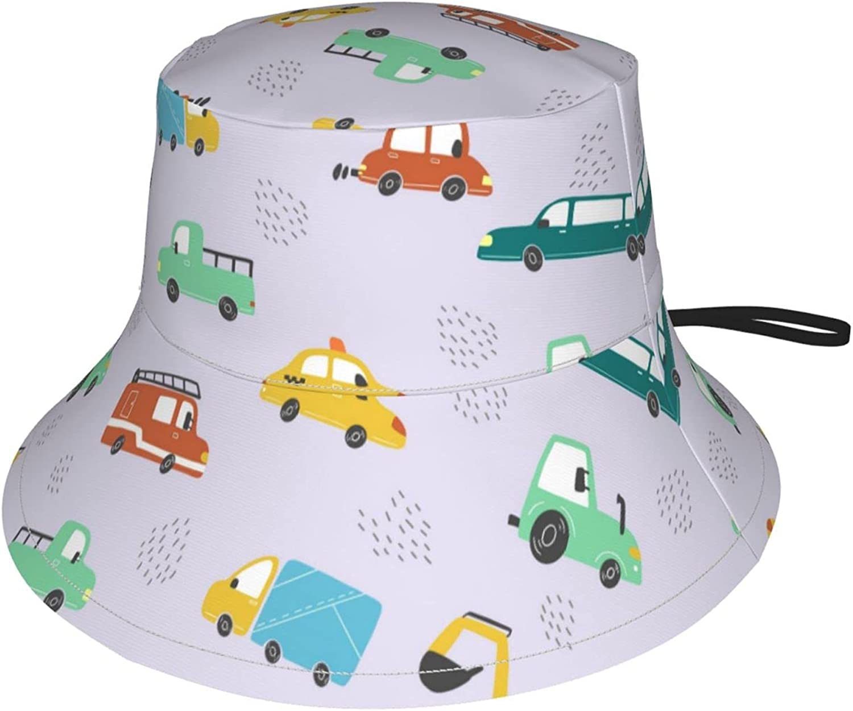 Jeezshop Today's only 100% quality warranty Bucket Hat with Cartoon Truck Print Sun Excavator