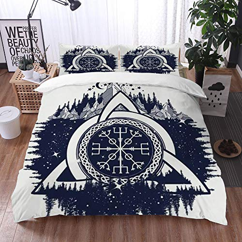 Qinniii Duvet Cover Bedding Sets,Celtic Trinity Knot Occult Style Helm Mystical Awe Aegishjalmur Signs Symbols,3-Piece Comforter Cover Set 135 x 200 cm +2 Pillowcases 50 * 80cm