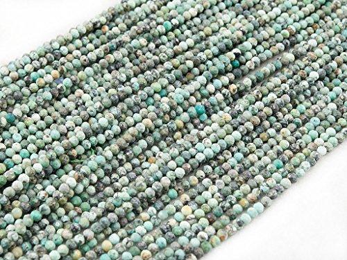 Beads Ok, África Turquesa, Genuino, Naturales, 4mm Abalorio Cuenta Mostacilla o Chaquira De Piedra Semipreciosa Bola Elegante Facetada, ~40cm un Hilo; Africa Turquoise, Elegant Facet Round Bead