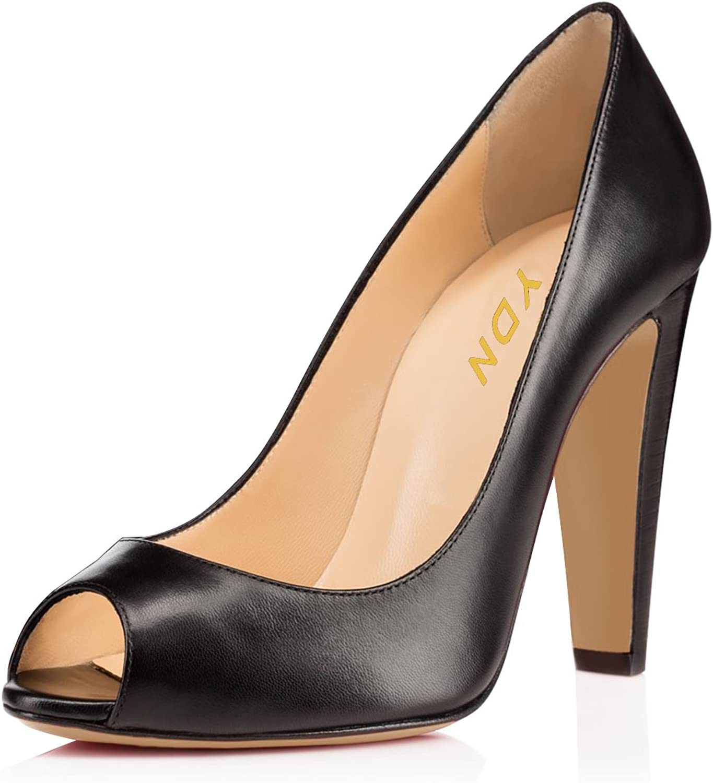 YDN Women Dress Peep Toe Thick High Heels Slip on Office Pumps shoes