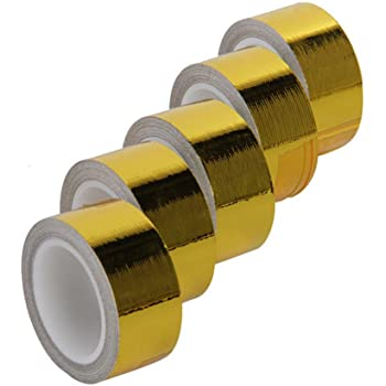 Hiwowsport Self Adhesive Reflect a Gold Heat Wrap Barrier 1''x 15 Feet, Pack of 5