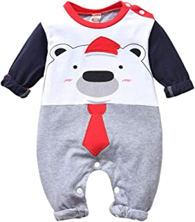 Newborn Baby Boy Clothes Baby Bear Outfits Long Sleeve Striped Romper Bodysuit Overall Jumpsuit One-Piece