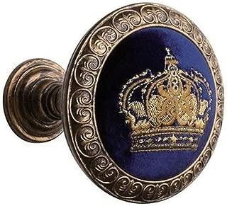 EleCharm 1Pair Embroidery Crown Drapery Medallion Holdback Curtain Wall Hooks (Aged Gold)