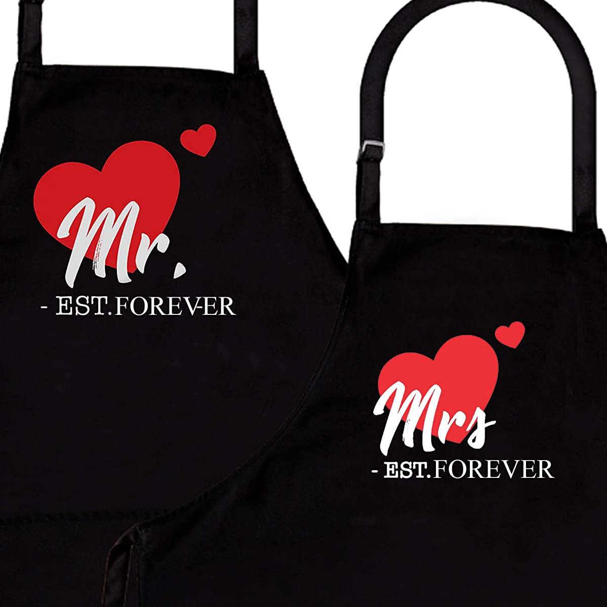 IDOXE Mr. & Mrs. Established 2019 2-Piece Apron Set - Matching Engagement Wedding Anniversary Bridal Shower Gift