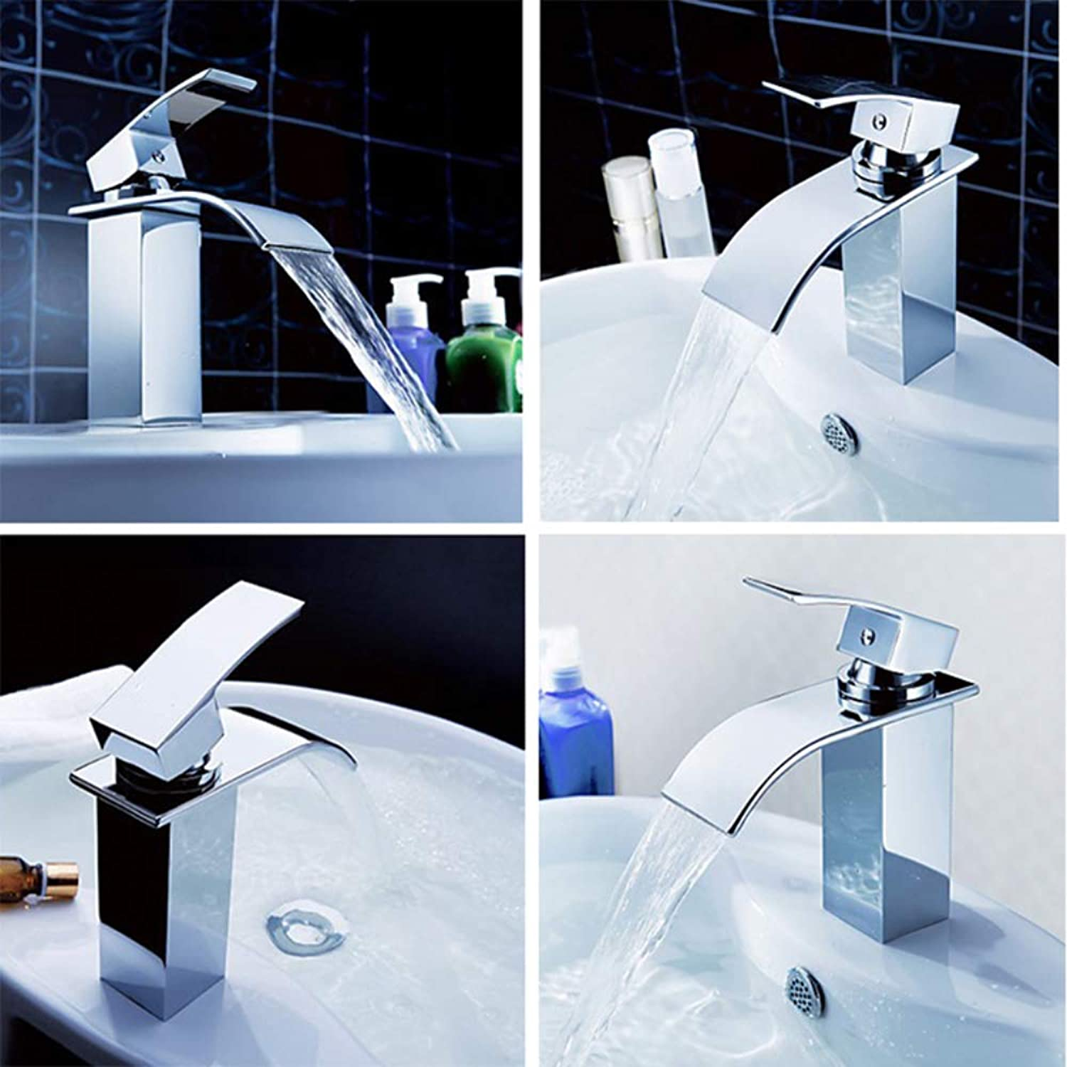 Basin Faucet Copper Square Waterfall Single Handle Basin Sink Faucet