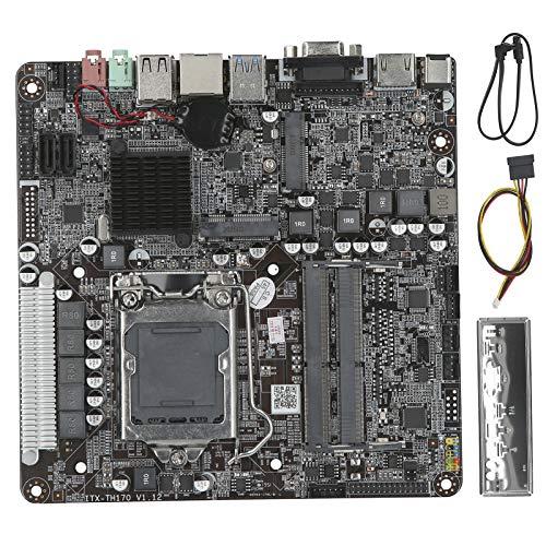 Pusokei Placa Base para Mini PC, CPU Intel LGA1151 Pin 6/7/8 generación, Memoria DDR4 1866/2133 MHz, Interfaz de Disco Duro 2 * SATA, 1 * Ranura Mini-PCIE, 1 * Ranura MSATA, Interfaz de E/S