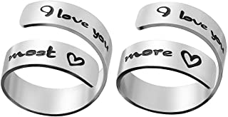 Wrap Twist Ring Adjustable Inspirational Silver Personality Encouragement Gift Bands Cool Stacking Opening Rings for Girls Teens Women