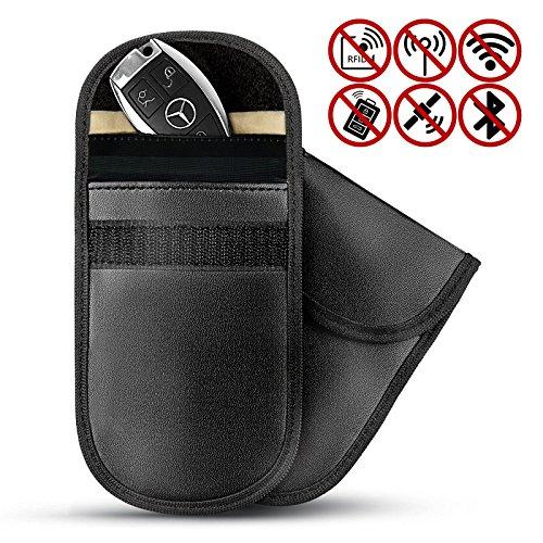 Pukkr 2 X Autoschlüssel Signalblocker Tasche   Diebstahlsicherer schlüsselloser Fob RFID Fall   RF Blocker   Pukkr