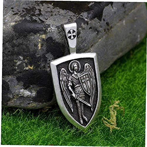 NC110 Aisoway Male Vintage Necklace Archangel St.Michael Protect Me Saint Shield Protection Charm Pendant Necklace-Style_2
