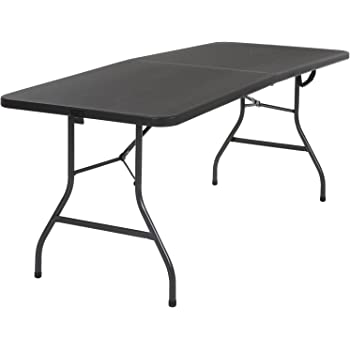 Cosco 14678BLK1 Deluxe 6 foot x 30 inch Fold-in-Half Blow Molded Folding Table, Black