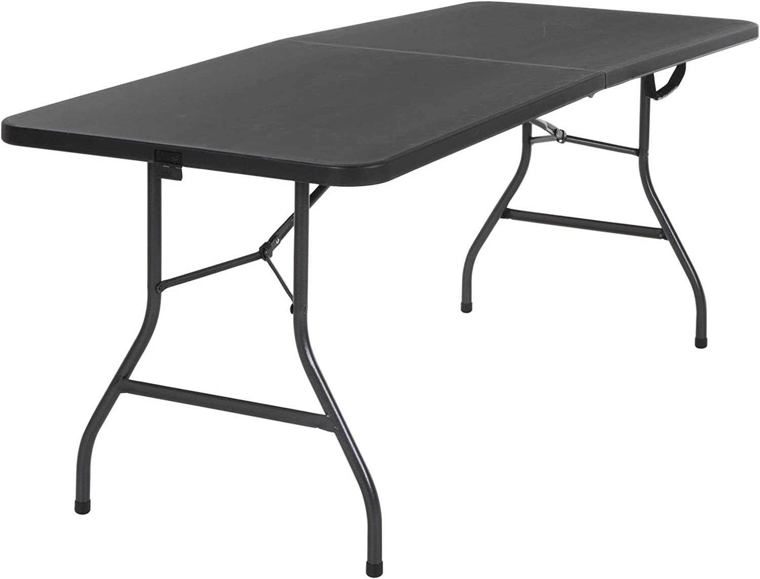 Cosco 14678BLK1 Deluxe 6 Foot x 30 inch Half Blow Molded Folding Table, Black, 72  (Rectangle)