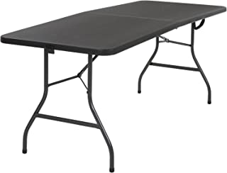 "Cosco 14678BLK1 Deluxe 6 Foot x 30 inch Half Blow Molded Folding Table, Black, 72"" (Rectangle),"