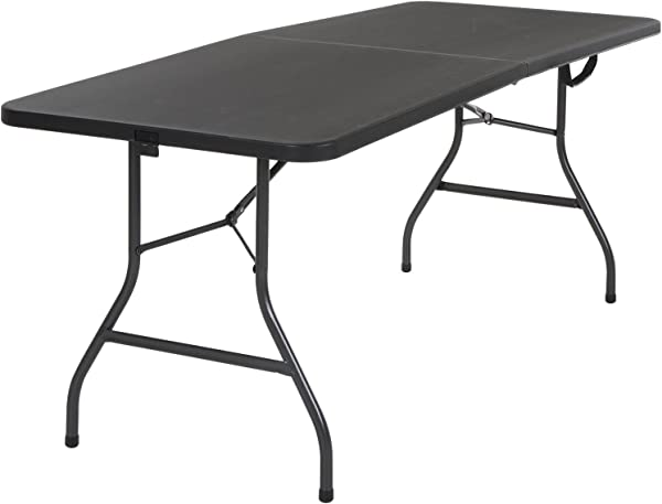 Cosco Deluxe 6 Foot X 30 Inch Fold In Half Blow Molded Folding Table Black Black