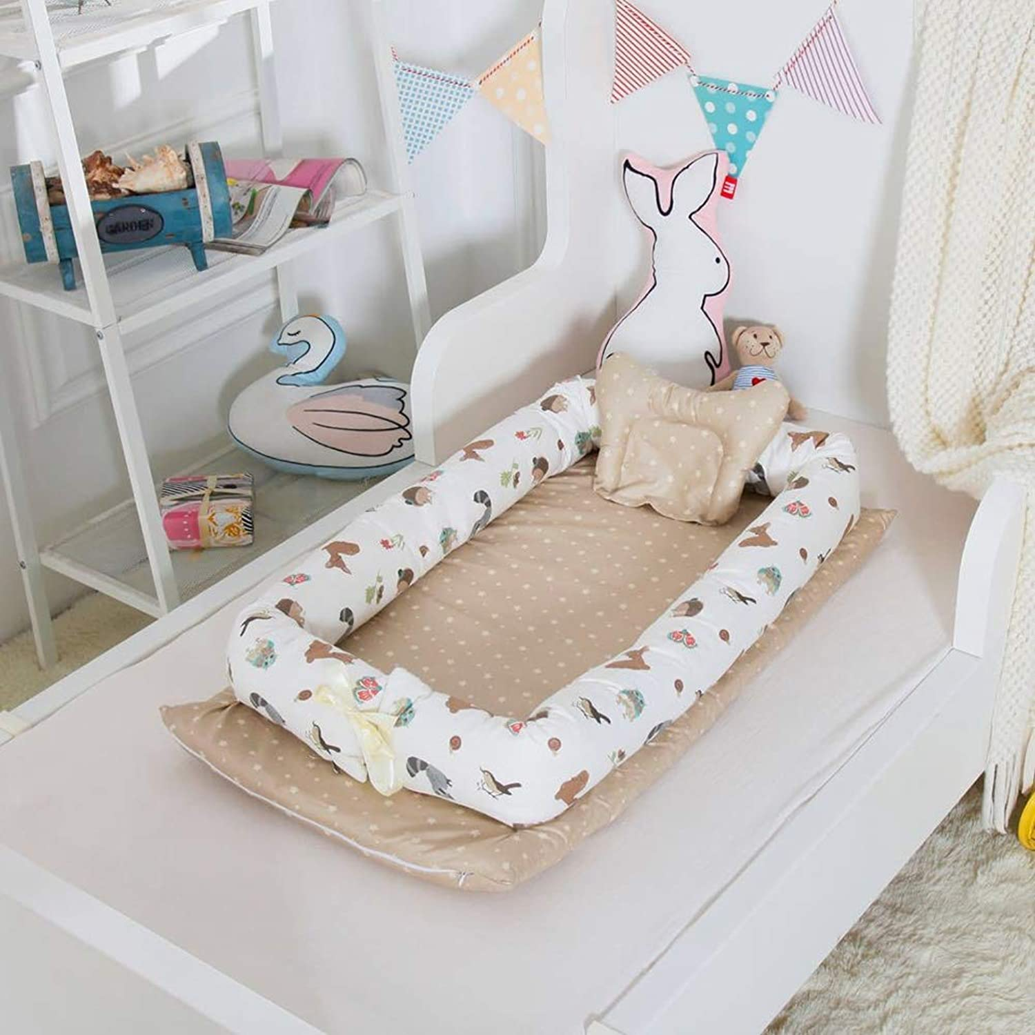 L L Baby Nest Crib Cotton Portable Newborn Isolated Bed Detachable Cover 90  55  15CM 35.4  21.7  5.9 inch, 11