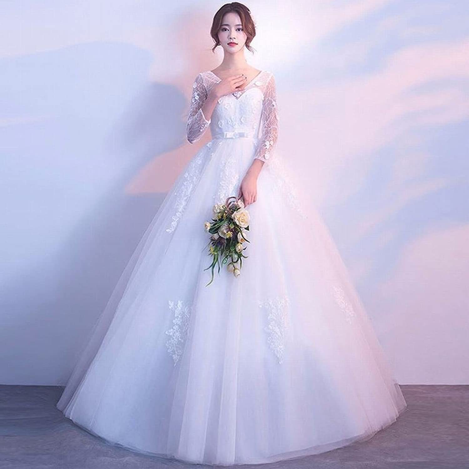 Wedding Dress Korean Bride Married high Waist Large Size Long Sleeves Thin Qi Princess Spring and Summer SLR