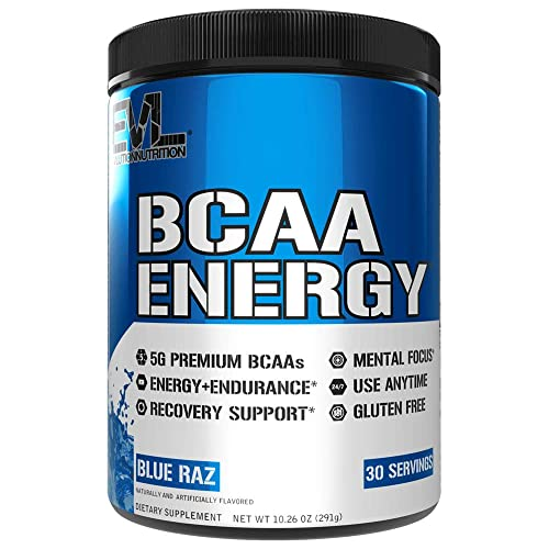 Evlution Nutrition BCAA Energy - Essential BCAA Amino Acids, Vitamin C, Natural Energizers for Performance, Immune Support, Muscle Building, Recovery, B Vitamins, Pre Workout, 30 Serve, Blue Raz