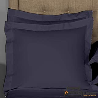 eBeddy Linens Pillow sham Set of 2 Navy Blue Solid 800 Thread Count Square (22x22) Size Envelope Closure Pillow Cover | Long Staple - Sateen Weave Silky Soft Natural Cotton | Breathable & Smooth Feel