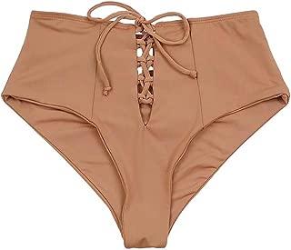 ToBeInStyle Women's Seamless High Waist Lace Up Bikini Bottom
