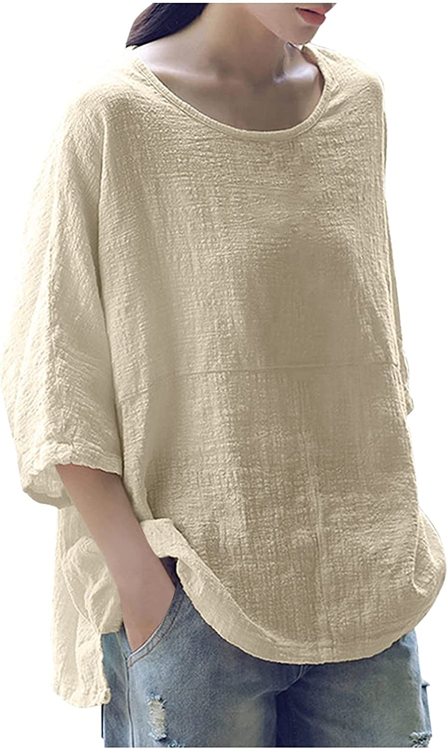 Womens Tops Plus Size Cotton Linen Tees Shirts 3/4 Sleeve Round Collar Loose Fit Summer Casual Tunic Shirts Blouses