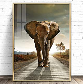 Posters Sunset Elephants Painting Animal Landscape Oil Painting Wall Art Poster Modern Home Decoration Picture Living Room...