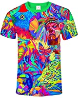 Animal Print Chinese Canvas Painting Beach Skater Summer Clothes T-Shirt