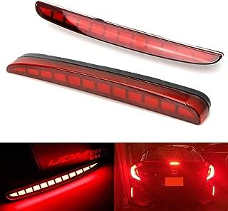 iJDMTOY Red Lens Full LED Bumper Reflector Lights For 2017-up Honda Civic Hatchback, Type-R or SI 4-Door Sedan, Function as Tail, Brake & Rear Fog Lamps