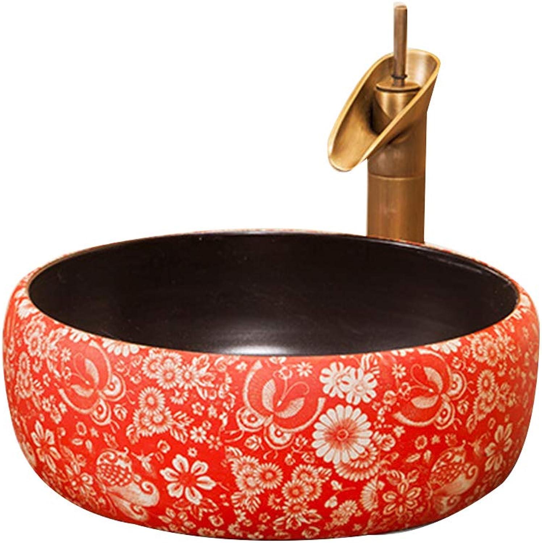 GongDi Waschpltze Aufsatzbecken rote Keramik WC Hotel Badezimmer Zubehr Wasserhahn über Kunstbecken Waschbecken 41  15