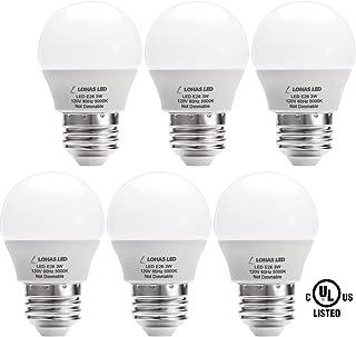 L LOHAS LED LH-BL-3W-5000k-6 G14(with UL Listed) 3W (25W Equivalent), LED Tiny, Small Night Bulbs 120V for Bedroom Ceiling Fan Table Lamp Light, 6Pack LED-Daylight-E26 Base, Daylight 5000K, E26