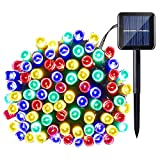 Qedertek Solar String Light, 33ft 100 LED 8 Modes Light Sensor Control Waterproof Decorative Ambiance Light For Patio, Lawn, Garden, Fence, Balcony, Party, Holiday, Christmas Decorations(Multicolor)