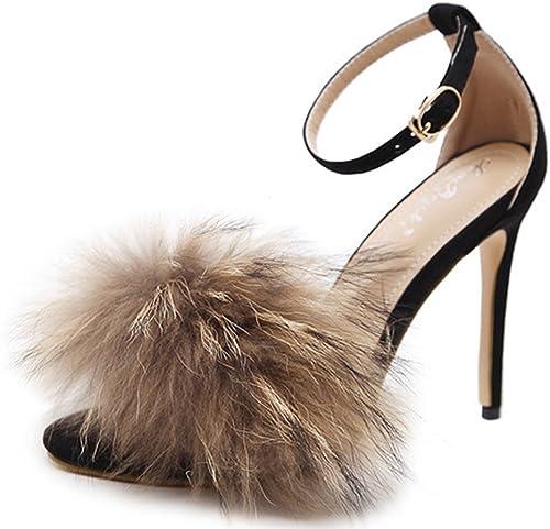 Kitzen Femmes Furry Plume Peep Toe Sandales Pompes Haut Haut Haut Talon Stilettos MesLes dames Boucle De Cheville Boucle Chaussures Brillantes Fête De Mariage 7f2