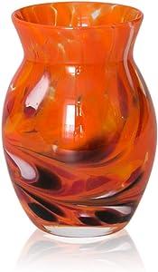 Granules orange Vase Height 13 CM Hand-Blown in Original Lauschaer Glass by Lauschaer Glas