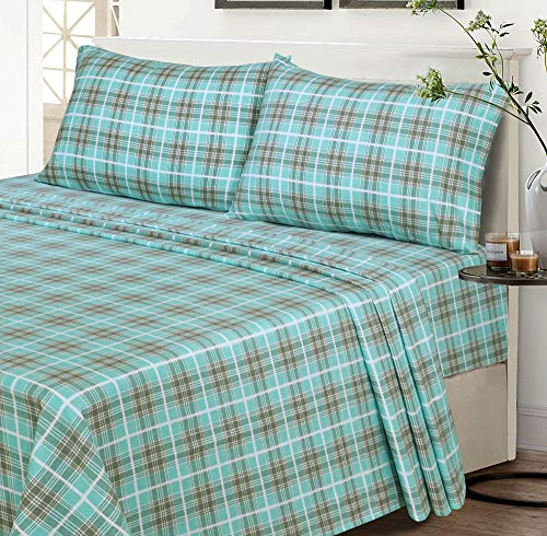 Ruvanti 100% Cotton 4 Piece Flannel Sheets Full - Deep Pocket - Warm - Super Soft - Breathable Full Size Flannel Bed Sheets Set. Flannel Bed Set Include Flat Sheet, Fitted Sheet & 2 Pillowcases (Full)