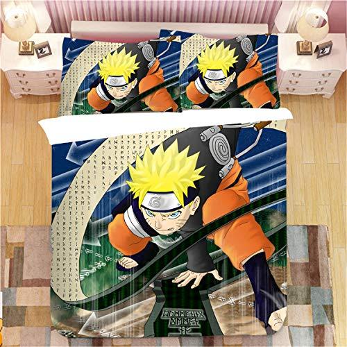 Jiaxiin Naruto - Uzumaki Naruto Scroll Anime 3pcs Bettwäsche Bettbezug Sets Weiche Bettbezug Baumwolle Kissenbezug (US-Queen)