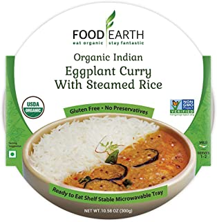 Food Earth Organic Indian Eggplant Curry with Steamed Rice - Ready to Eat Meals - Indian Food - Organic Microwaveable Meal...