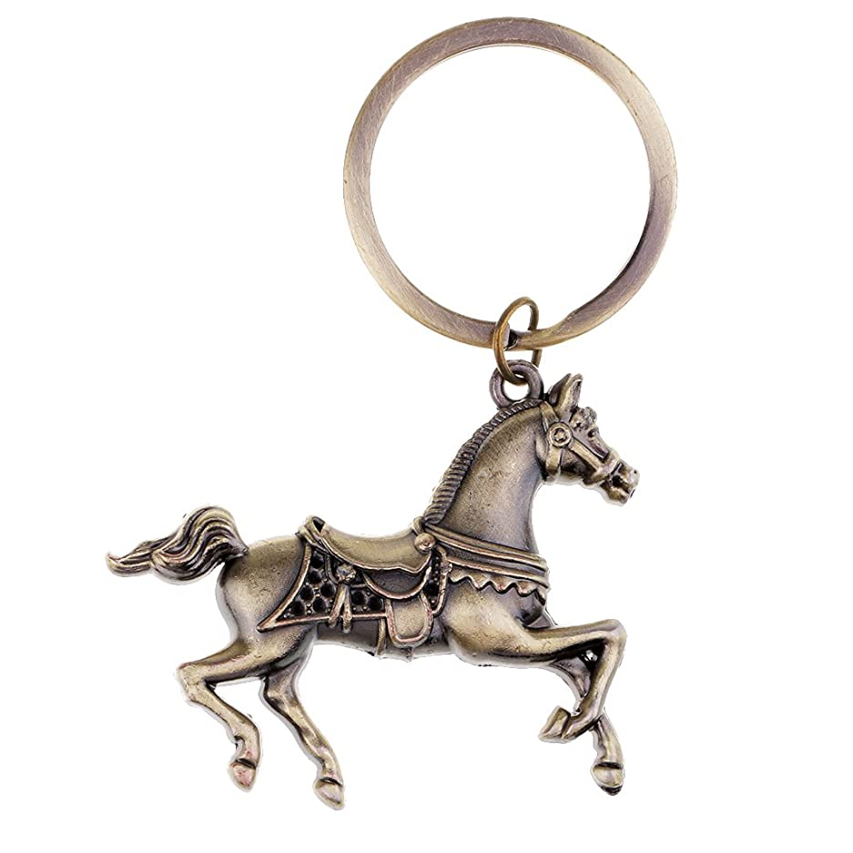 代替非アクティブ渇きヴィンテージ 動物の馬のキーリング メタルキーホルダー 全3色 サラブレッド型 素敵 - ブロンズ
