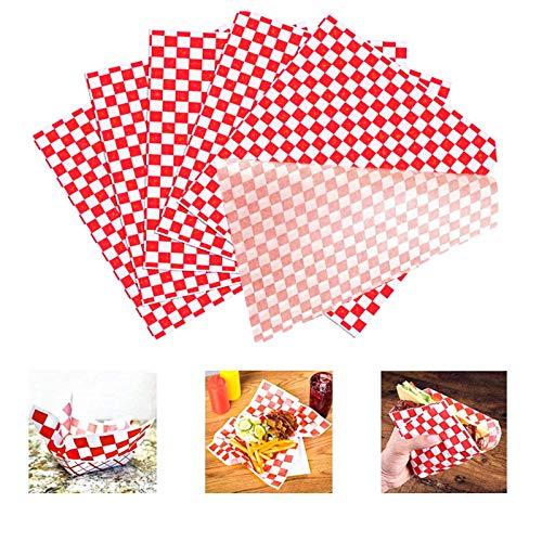 100 arkuszy papier do owijania klasy spożywczej w kratkę wkłady do koszyka odporne na tłuszcz/kanapki hamburgerów resztki chusteczek do pakowania prezentów 25 cm x 28
