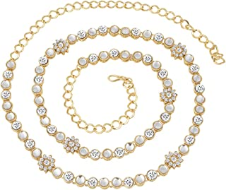 Peora Traditional Jewellery 18K Gold Plated Blue Kundan Waist Belt Kamarband Belly Chain for Women Girls