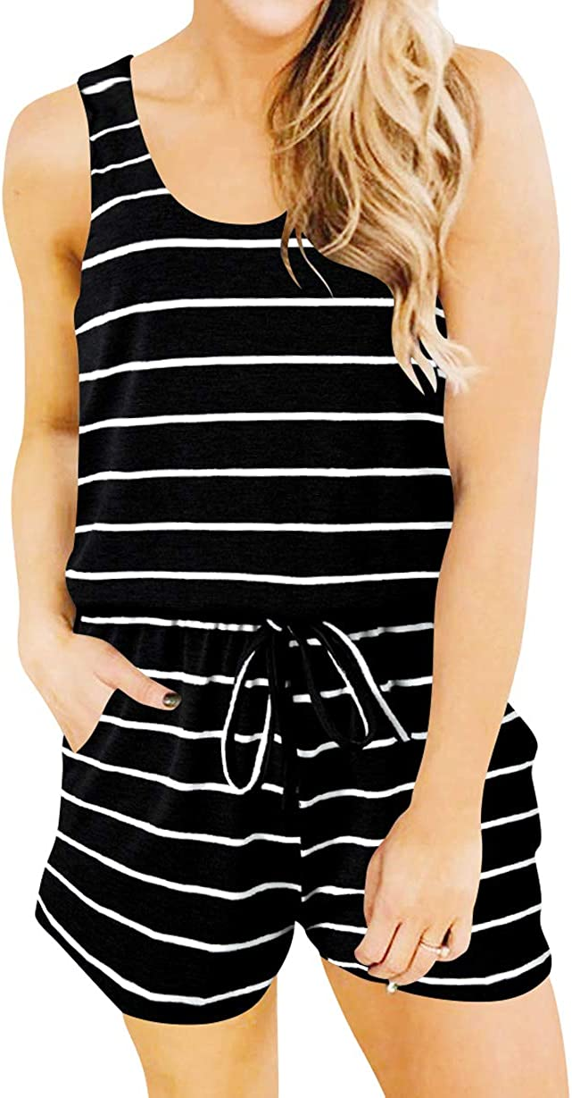 ANRABESS Womens Summer Scoop Neck Sleeveless Tie Dye Striped Jumpsuits Casual Tank Rompers with Pockets
