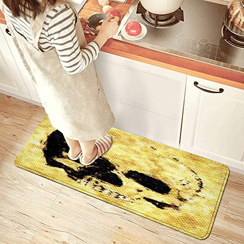 NINEHASA Alfombra de Cocina,Pintura al óleo de Calavera Dorada con Puntos Dorados Brillantes Efecto de luz Estilo Moderno,Lavable Antideslizante Alfombrilla Alfombra de Baño Alfombrillas Cocina