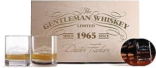 Herz & Heim 2 Gravierte Whiskygläser mit bedruckten Untersetzern in einzigartiger Geschenkbox zum Geburtstag oder Vatertag