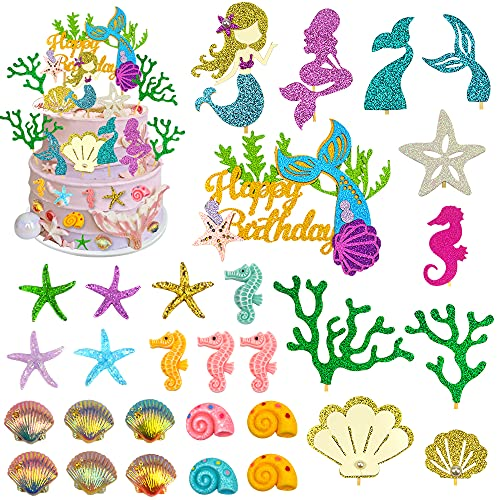 39 PCS Mermaid Cupcake Topper Glitter Mermaid Theme Birthday Cake Topper with Starfish Conch Seahorse Shell and Seaweed for Birthday Party, Baby Shower,Wedding, Mermaid Cake Decorations