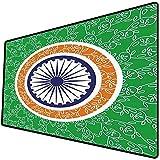 Tappetino per mouse da gioco [600x300 x 3 mm],Chakra Decor, concetto di celebrazione del giorno dell'indipendenza asiatica con stampa motivo a rot Base antiscivolo 45x45cm
