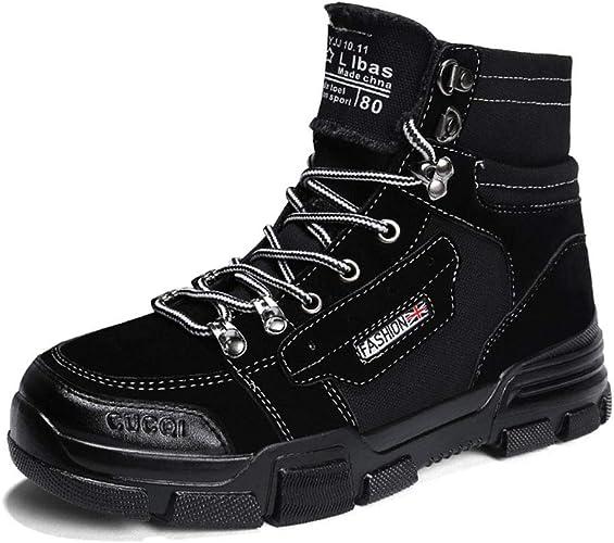 YAN Hommes Chaussures Daim Martin Bottes 2018 mode Lace Up Plate-Forme Chaussures De Haut-Haut Décontracté Chaussures Occasionnels Journalier Chaussures De Marche Noir Beige Blanc,noir,40