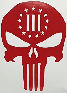 CMI517 3 Percenter Skull Punisher Gun Rights RED Vinyl Car/Laptop/Window/Wall Decal | 6.5