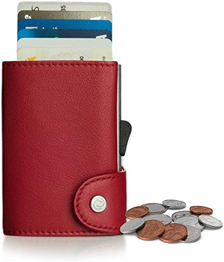 C-secure Smart Wallet met aluminium kaarthouder (RFID-bescherming) - Compacte portemonnee & kaarthouder - voor kaarten, bankbiljetten en munten - Lederen portemonnee van leer, rood (rood) - COINWCH001