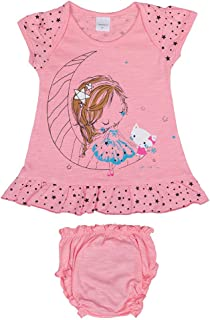 Hopscotch Baby Girls Cotton Short Sleeves Printed Dress with Bloomer in Pink Color