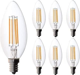 60 watt Candelabra Bulbs, Bioluz LED Candelabra Bulbs, Dimmable Filament Clear 60 Watt LED Bulbs (Uses only 4.5 watts) E12 Base B12 C37 LED Filament Candle Bulbs Pack of 6