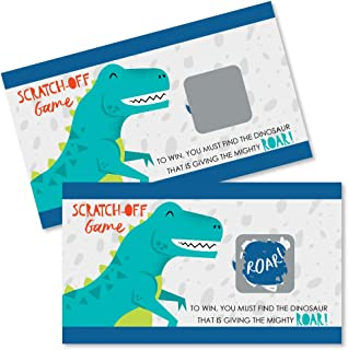 Big Dot of Happiness Roar Dinosaur - Dino Mite T-Rex Baby Shower or Birthday Party Game Scratch Off Cards - 22 Count