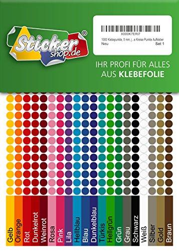 1000 Klebepunkte, 5 mm, je 50 Stück in 20 Farben, aus PVC Folie, wetterfest, Markierungspunkte Kreise Punkte Aufkleber